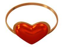 Δαχτυλίδι με μια κόκκινη καρδιά Στοκ εικόνες με δικαίωμα ελεύθερης χρήσης