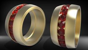 Δαχτυλίδι με τα κόκκινα κοσμήματα διανυσματική απεικόνιση
