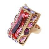Δαχτυλίδι με το μεγάλο κρύσταλλο Στοκ εικόνα με δικαίωμα ελεύθερης χρήσης
