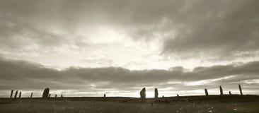 Δαχτυλίδι Brodgar Προϊστορικός κύκλος πετρών Orkney Σκωτία Στοκ Εικόνες