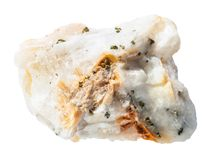 Δείγμα του βράχου χαλαζία με τα εγγενή χρυσά κομμάτια Στοκ Εικόνες