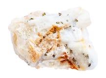 Δείγμα του βράχου χαλαζία με τα φυσικά χρυσά κομμάτια Στοκ Φωτογραφίες