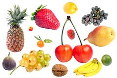 Δείγμα φρούτων σε ένα άσπρο υπόβαθρο στοκ εικόνα