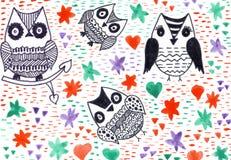 Δείκτες που χρωματίζουν το υπόβαθρο φαντασίας φύσης κουκουβαγιών asbtract Στοκ εικόνες με δικαίωμα ελεύθερης χρήσης