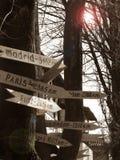 δείκτες στο δέντρο στην πόλη Στοκ Εικόνες