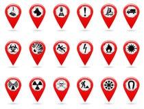 Δείκτες χαρτών καθορισμένα σύμβολα ασφάλειας Η θέση και διευκρινίζει τις συντεταγμένες στην έκταση χαρτών σχέδιο βιομηχανικό Κόκκ διανυσματική απεικόνιση