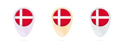 Δείκτες χαρτών με τη σημαία της Δανίας, 3 εκδόσεις χρώματος απεικόνιση αποθεμάτων