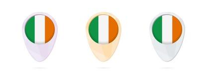 Δείκτες χαρτών με τη σημαία της Ιρλανδίας, 3 εκδόσεις χρώματος ελεύθερη απεικόνιση δικαιώματος