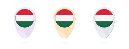 Δείκτες χαρτών με τη σημαία της Ουγγαρίας, 3 εκδόσεις χρώματος ελεύθερη απεικόνιση δικαιώματος