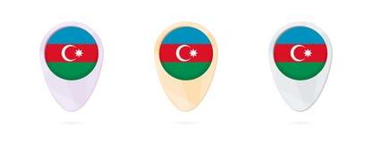 Δείκτες χαρτών με τη σημαία του Αζερμπαϊτζάν, 3 εκδόσεις χρώματος διανυσματική απεικόνιση