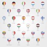 Δείκτες χαρτών που απεικονίζουν την ΕΕ Στοκ Εικόνες
