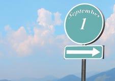 Δείκτης με το κείμενο την 1η Σεπτεμβρίου Στοκ Εικόνες