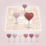 Δείκτης χαρτών με το εικονίδιο καρδιών Στοκ φωτογραφία με δικαίωμα ελεύθερης χρήσης