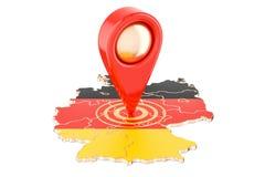 Δείκτης χαρτών στο χάρτη της Γερμανίας, τρισδιάστατη απόδοση Στοκ Εικόνα
