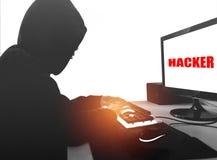 Δείτε από την πλευρά Εργασία χάκερ υπολογιστών στοκ εικόνα