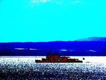 Δείτε με το σκάφος μηχανών στο backlight στα λανθασμένα χρώματα στοκ φωτογραφία με δικαίωμα ελεύθερης χρήσης