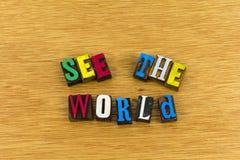 Δείτε παγκόσμιο να ονειρευτεί letterpress στοκ φωτογραφία