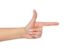 Δείχνοντας το χέρι που παρουσιάζει κατεύθυνση που απομονώνεται Στοκ εικόνα με δικαίωμα ελεύθερης χρήσης