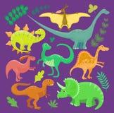 Δεινοσαύρων διανυσματική καθορισμένη απεικόνιση συλλογής ύφους κινούμενων σχεδίων παιδιών συρμένη χέρι Αστείο ζώο τεράτων της Din απεικόνιση αποθεμάτων