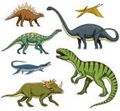 Δεινόσαυροι καθορισμένοι, τυραννόσαυρος rex, Triceratops, Barosaurus, Diplodocus, Velociraptor, Triceratops, Stegosaurus, σκελετο Στοκ φωτογραφία με δικαίωμα ελεύθερης χρήσης