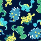Δεινόσαυροι κεντητικής σε ένα άνευ ραφής σχέδιο Στοκ εικόνες με δικαίωμα ελεύθερης χρήσης