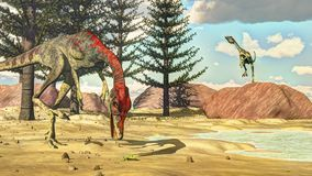 Δεινόσαυροι Compsognathus - τρισδιάστατοι δώστε Στοκ φωτογραφίες με δικαίωμα ελεύθερης χρήσης