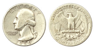 δεκάρα ένα ΗΠΑ νομισμάτων τ&omicr στοκ εικόνα