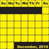 2018 Δεκέμβριος κίτρινος στο μαύρο ημερολόγιο αρμόδιων για το σχεδιασμό ελεύθερη απεικόνιση δικαιώματος