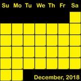 2018 Δεκέμβριος κίτρινος στο μαύρο ημερολόγιο αρμόδιων για το σχεδιασμό μεγάλο απεικόνιση αποθεμάτων