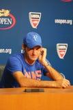 Δεκαεπτά φορές ο πρωτοπόρος Roger Federer του Grand Slam κατά τη διάρκεια της συνέντευξης τύπου αφότου έχασε τη ημιτελική αντιστο Στοκ Εικόνες