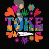 Δεκαετίας του '60 ύφους νεαρών δικυκλιστών λαϊκό σχέδιο μαριχουάνα Toke τέχνης psychedelic ζωηρόχρωμο ελεύθερη απεικόνιση δικαιώματος