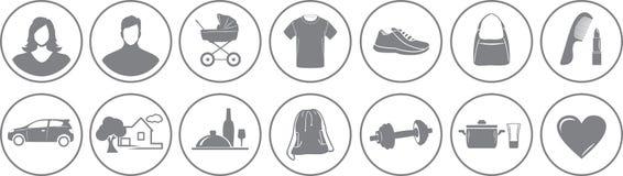Δεκατέσσερα εικονίδια υπηρεσιών για το σε απευθείας σύνδεση κατάστημα διανυσματική απεικόνιση