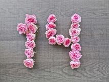 14, δεκατέσσερα - εκλεκτής ποιότητας αριθμός ρόδινων τριαντάφυλλων στο υπόβαθρο του σκοτεινού ξύλου στοκ φωτογραφίες με δικαίωμα ελεύθερης χρήσης