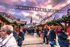 5 Δεκεμβρίου 2016: Είσοδος στην αγορά Χριστουγέννων στο κεντρικό Γ Στοκ Εικόνες