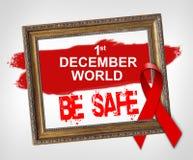 1 Δεκεμβρίου ο κόσμος ΕΙΝΑΙ ΑΣΦΑΛΗΣ, έννοια Παγκόσμιας Ημέρας κατά του AIDS με την κόκκινη κορδέλλα Στοκ φωτογραφία με δικαίωμα ελεύθερης χρήσης