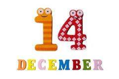 14 Δεκεμβρίου στο άσπρους υπόβαθρο, τους αριθμούς και τις επιστολές Στοκ εικόνα με δικαίωμα ελεύθερης χρήσης