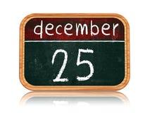 25 Δεκεμβρίου στο έμβλημα πινάκων Στοκ Φωτογραφία