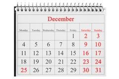 25 Δεκεμβρίου στο ημερολόγιο Στοκ εικόνες με δικαίωμα ελεύθερης χρήσης