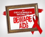 1 Δεκεμβρίου το παγκόσμιο BEWARE AIDS, έννοια Παγκόσμιας Ημέρας κατά του AIDS με την κόκκινη κορδέλλα Στοκ φωτογραφία με δικαίωμα ελεύθερης χρήσης