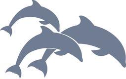 Δελφίνια που κολυμπούν το διάνυσμα για το σχέδιο ή το λογότυπό σας διανυσματική απεικόνιση