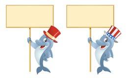 Δελφίνι στο τοπ καπέλο που κρατά το κενό έμβλημα Στοκ Φωτογραφία