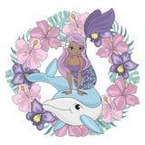 ΔΕΛΦΙΝΙΩΝ ΣΤΕΦΑΝΙΩΝ Floral σύνολο απεικόνισης γοργόνων ζωικό διανυσματικό ελεύθερη απεικόνιση δικαιώματος