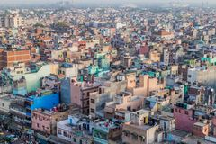 ΔΕΛΧΙ, ΙΝΔΙΑ - 22 ΟΚΤΩΒΡΊΟΥ 2016: Εναέρια άποψη του παλαιού Δελχί, Indi στοκ εικόνα