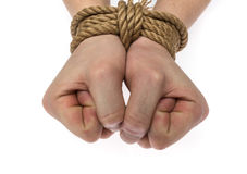 Δεμένα χέρια που απομονώνονται Στοκ εικόνες με δικαίωμα ελεύθερης χρήσης