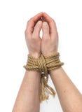 Δεμένα χέρια που απομονώνονται Στοκ Εικόνες