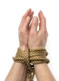 Δεμένα χέρια που απομονώνονται Στοκ Φωτογραφία