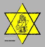 Δεν θα ξεχάσουμε ποτέ Ημέρα ενθύμησης ολοκαυτώματος Κίτρινο αστέρι Δαβίδ Διεθνής ημέρα των φασιστικών στρατοπέδων συγκέντρωσης κα απεικόνιση αποθεμάτων