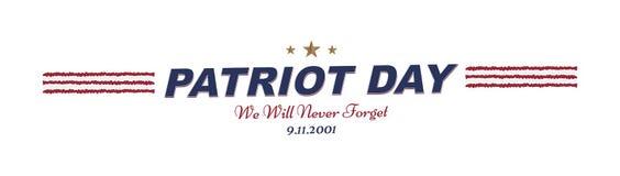 Δεν θα ξεχάσουμε ποτέ Πατριώτης ημέρα στις 11 Σεπτεμβρίου 2001 τυπογραφία σε ένα άσπρο υπόβαθρο Διανυσματικός συνδυασμός πηγών στ ελεύθερη απεικόνιση δικαιώματος