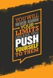 Δεν ξέρετε ποτέ τα όριά σας εκτός αν ωθείστε σε τα Απόσπασμα κινήτρου γυμναστικής Workout και ικανότητας ελεύθερη απεικόνιση δικαιώματος