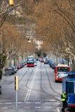 Δενδρώδης οδός λεωφόρων στο κέντρο της Βαρκελώνης, Ισπανία Στοκ φωτογραφίες με δικαίωμα ελεύθερης χρήσης